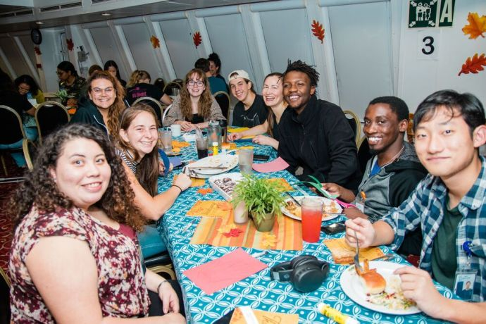 Bahamas: Abaco Islands, The Bahamas :: Crew celebrate Thanksgiving with a traditional meal in the ships dining room. More Info