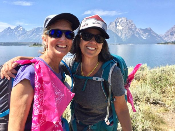 United States: Laura Wagner pauses on the trail with her friend, Devin Hahn, during her first Freedom Challenge USA hike in Wyoming in 2016. More Info