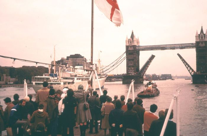 Ships: London, England :: OMs first ship, Logos, is waved off from London in late February 1971. More Info