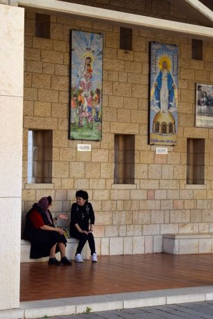 Israel: Women talking at a Catholic church in Nazareth. Photo by Kate Toretti. More Info