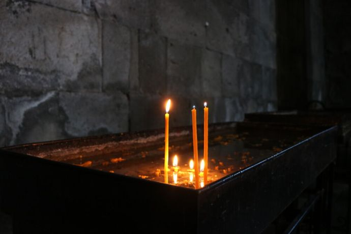 Armenia: Candles inside a monastery in Armenia, a country with a rich Christian heritage reaching back to the 1st century AD. Photo provided by OM International Disaster Response. More Info