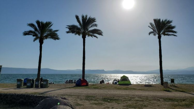Israel: People camping and enjoying the shore of a sunny, Israel day. Photo by Thomas. More Info