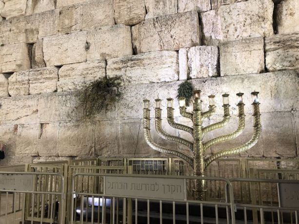 Israel: A menorah at the Wailing Wall in Jerusalem. Photo by Thomas. More Info