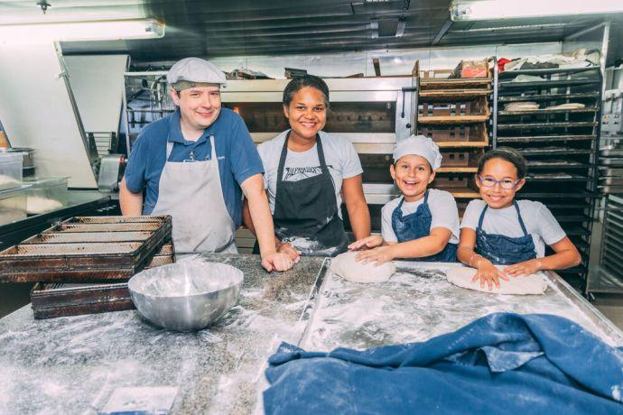 Ships: Ships :: The van Rietschoten family (Canada  Brazil) in Logos Hopes bakery. More Info
