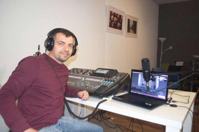 Montenegro: Yan from OM Montenegro operates the mixing desk at Mozaik church, Bar, Montenegro. More Info