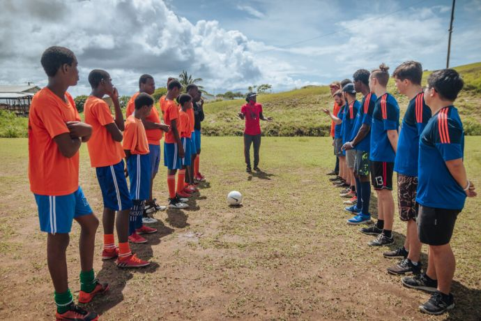 Saint Lucia: Castries, Saint Lucia :: The ships football team connects with local boys through sport. More Info
