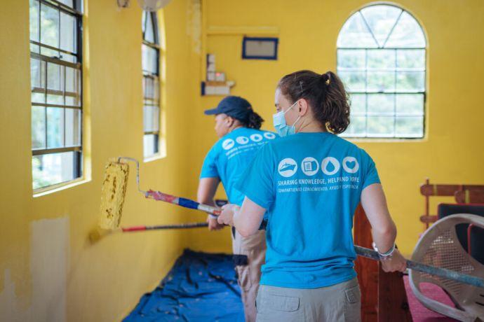 Saint Lucia: Castries, Saint Lucia :: Luca Haeger (Germany) joins a team to repaint a church. More Info