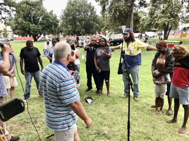 South East Asia: Outreach to the homeless community at Whitmore Square in the center of Adelaide. The people in this photo, including indigenous people, have responded to a gospel message and come forward for prayer. More Info
