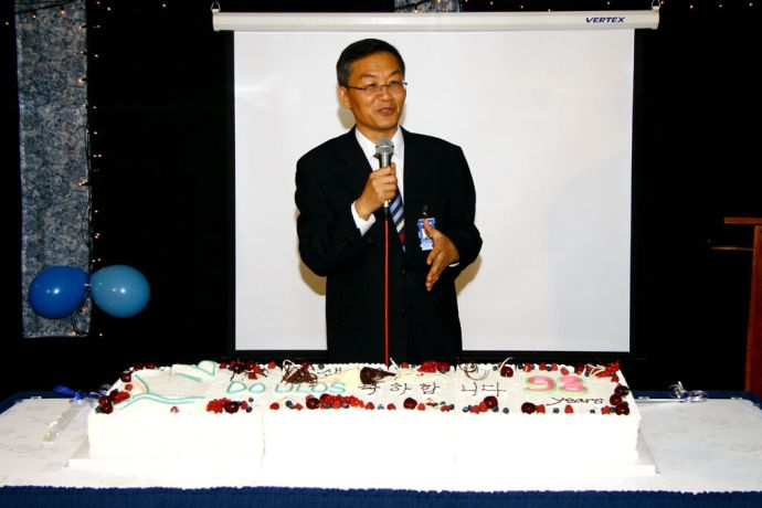 South Korea: Inchon, South Korea :: Doulos Director Dr. Daniel Chae (South Korea) addresses crew and invited guests at one of the Doulos birthday celebration events More Info