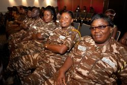 Tema, Ghana :: A group of prison guards from the Ghana Prison Headquarters in Accra attend a programme on board Logos Hope.