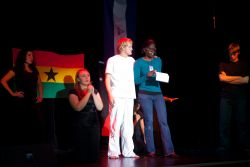 Takoradi, Ghana :: Liz Bannister (Trinidad  Tobago) shares her story after a drama at the Hope Night.