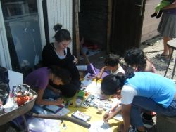 Outside a Roma familys small home,in process of renovation by OM Montenegro and Transit Challenge Team