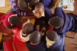 Grade seven students during one of the CrossRoads life skills lessons presented by the AIDSHope team at Vuka Uzenzele Primary School.