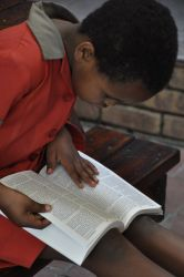 Young girl explores her Bible. On 21 Feb 2011 children attending Meetse a Bophelo (Fountain of Life) Center received their first Bibles.