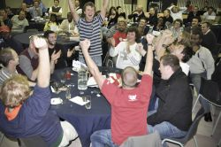 At the first-annual SportsLink Question of Sport event, teams sat at tables for dinner and competed in a sports quiz, all to raise money and awareness for sports ministry.