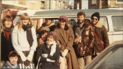 Grantley (second from the right) and the OM team in Belgium in 1985 went into the neighbourhoods to share the gospel with Arabs.