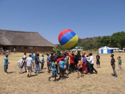 Playing ball at a camp for South African children.