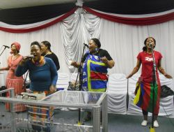 A church in Pretoria celebrates after a month of missions exposure by wearing traditional African clothes in their worship service.