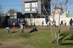 Soccer game with kids at children's home