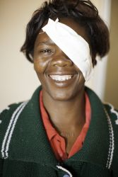 Pauline, a contributor to Tabitha Sewing Ministry, after her cataracts surgery.
