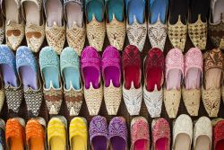 Colorful shoes enliven the markets in the UAE.    