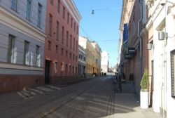 A street view in downtown Helsinki, Finland.