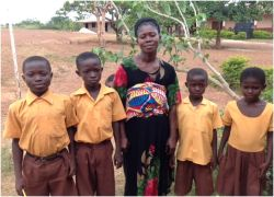 Akua Addae from Ghana with four of her eight children with a new hope for her offspring as OM workers have reached out to her family