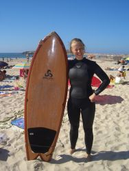 A young woman from Finland took part in the surfing outreach in Portugal.