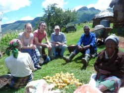 Kathryn Jenkin and her team visiting homes in Lesotho.