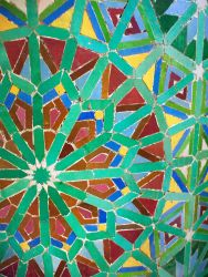 Colorful decorative tiles cover the walls of homes and mosques, adding to the colors of North Africa.