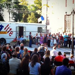 Bus4Life is part of a church service in Romania.