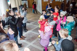 Kids Games kicks off in the freezing foyer where refugees have been housed for almost two years.