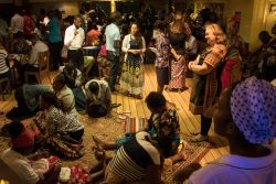 Maputo, Mozambique :: Locals and crewmembers pray together all night on-board Logos Hope for the country of Mozambique and the world.