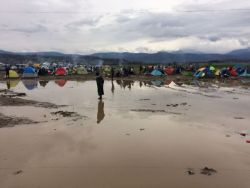 Refugees camping out in the mud at the Greek-Macedonian border near Idomeni.