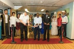 Durban, South Africa :: Captain Tom Dyer (USA), Mr. Sikhumbuzo Nene, Parks Recreation and Culture Service Unit, and Logos Hopes Director, Seelan Govender (South Africa) cut the ribbon at the Official Opening on the Visitor Experience deck.
