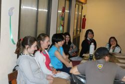 OMers in Argentina share about God with young people in the community during the English Talk ministry.