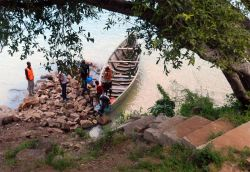 Lake Tanganyika, Zambia :: A jetty is being built to allow for a safe and secure place to tie up the vessel that the OM Lake Tanganyika team uses.
