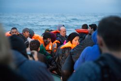 Refugees taking the boat from Turkey to Greece finally reach shore after a 4 hour trip across rough seas