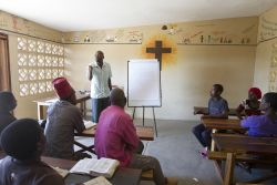 Fredson Phiri teaches the 2016 discipleship class at the OM base in Ntaja, Malawi.