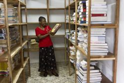 The bookshop in Mocuba, Mozambique is buying books and organizing them in anticipation of opening.
