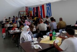 Lunch time treat provided by mission volunteers in Hungary.
