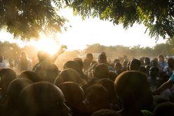 Tema, Ghana :: Children wait in line during a feeding program in their village.