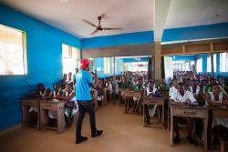 Sekondi, Ghana :: Hope team members visit a high school to raise awareness of human trafficking.