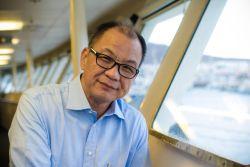 Las Palmas, Spain :: OM International Director Lawrence Tong (Singapore) on Logos Hopes bridge.