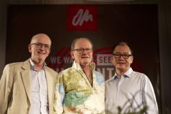 OM Founder George Verwer (middle), former International Director Peter Maiden (left) and current International Director Lawrence Tong (right) gathered in Bangkok, Thailand, in February 2017 with over 400 other OM pioneers and leaders to celebrate OMs 60th anniversary and commemorate Gods faithfulness in missions.
