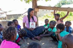OMer Abby, from Trinidad, teaches a preschool class in the shade of a tree in Kapembwa. The preschool provides Christ-centred education to the children of the fishing village and has been a great way to invest in the community and build relationships.