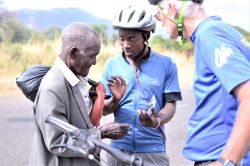 Cyclists distributed AudiBibles to the Yao in Malawi during the Ride2Transform outreach.