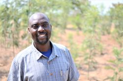 Pastor Jacob Makorere stands among trees he has planted on a property he owns in Bundu, Tanzania