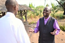 Pastor Jacob Makorere discusses life with a pastor of one of his church plants in northern Tanzania