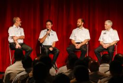 Santo Domingo, Dominican Republic :: First Engineer Peter Huizinga (Netherlands), Chief Mate James Berry (UK), Chief Engineer Adam Dawson (USA) and Captain Arne Johansen (Faroe Islands) talk about their experiences working on ships during an onboard event.